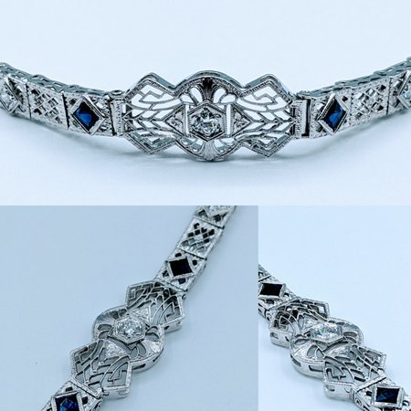 "Bracelet .30ctw Diamond Sapphire Sapphire Platinum & 14kw 6.5"" 120090232"