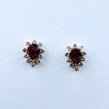 Earrings .25ctw Diamonds .50ctw Ruby 14ky 9.3x7.5mm 120090151