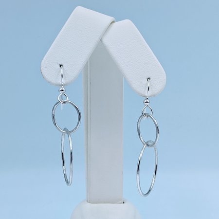 Earrings Double Hoop Pounded SS 220090059