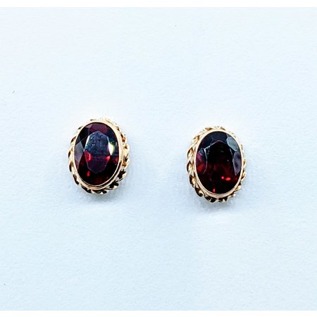 Earrings Cable 8x6mm Garnet 14ky 10x7.5mm 120090224