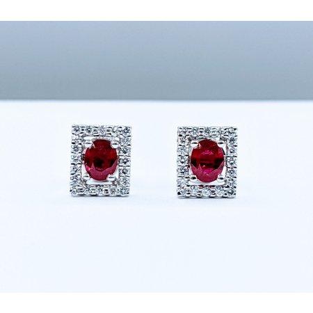 Earrings 1.00ctw Ruby .25ctw Dia 14kw 119080020