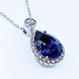 "Necklace Tanzanite 14.19ct Diamonds 1.28ctw 18k 18"" 220100025"