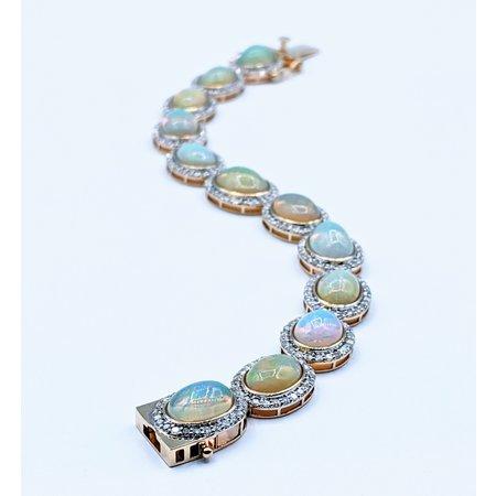 "Bracelet Opal 18.86ctw Diamond 3.54ctw 14ky 7"" 220100014"