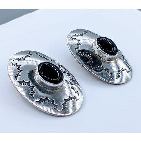 Earring Native American Onyx Silver220100052