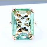 Ring Green Glass 13x18mm 14ky Sz5.5 220100047