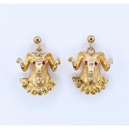 Earrings Ram Heads Ruby Eyes 10ky 220110005