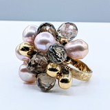 Ring Pearl & Quartz 14ky Sz6 220100048