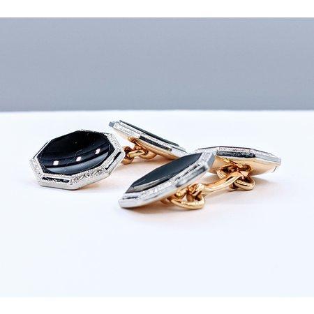 Cufflinks Two-Tone Black Onyx & Enamel 14ky 120090355