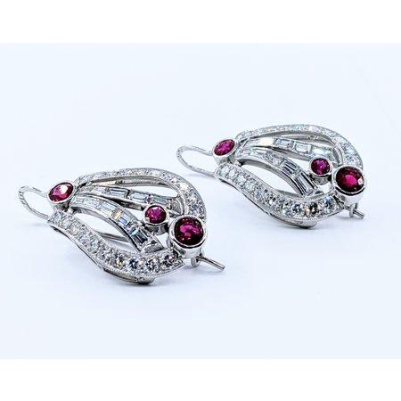 Earrings Art Deco Ruby & Diamond 2.06ctw Diamond 2.00ctw Platinum 220110018