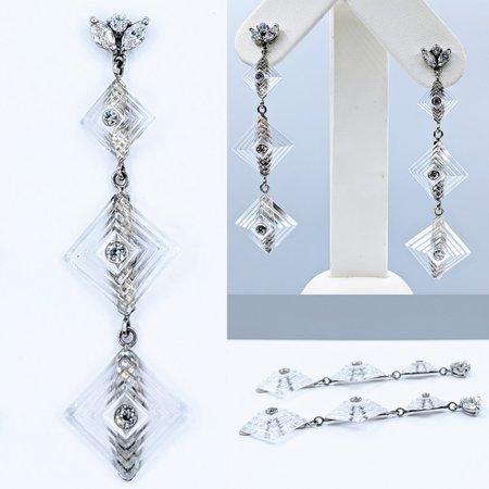 Earrings Art Deco Diamond & Crystal Dangle.50ctw 14kw 220110016