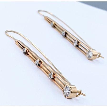 Earrings Art Deco Diamond Drop 14ky 220110012