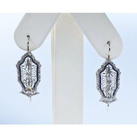 Earrings Art Deco Diamond & Enamel.25ctw 14kw 220110014