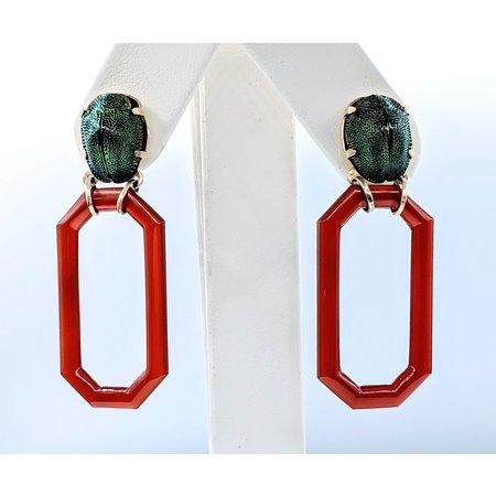 Earrings Victorian Scarab & Carnelian 14ky 220110010