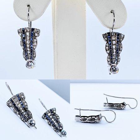 Earrings Art Deco Diamond & Syn Sapphire.75ctw Platinum 220110017