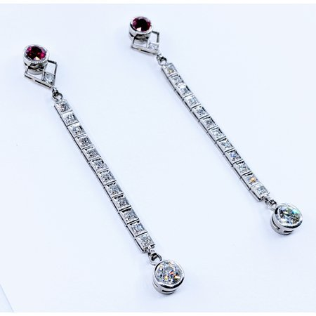Earrings Art Deco Ruby & Diamond .75ctwPlatinum 220110009