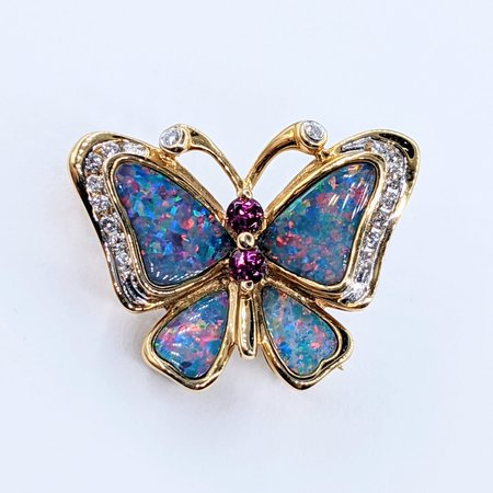 Brooch Butterfly Opal Inlay & Tourmaline .12ctw Diamonds 14ky 220110047