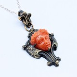"Pendant Victorian Carved Coral 10ky 17"" 220110028"