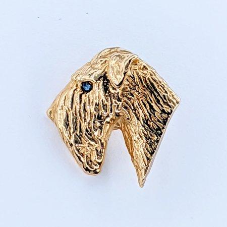Brooch Terrier .02ctw Sapphire 14ky 220110045