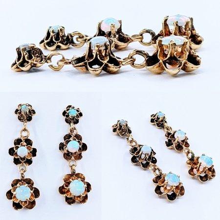 Earrings Victorian Opal Dangles 14ky 220110013