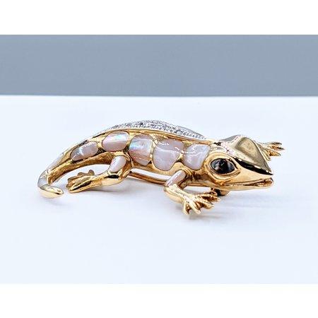 Brooch Gecko MOP Inlay.03ctw Diamonds 14ky 220110043