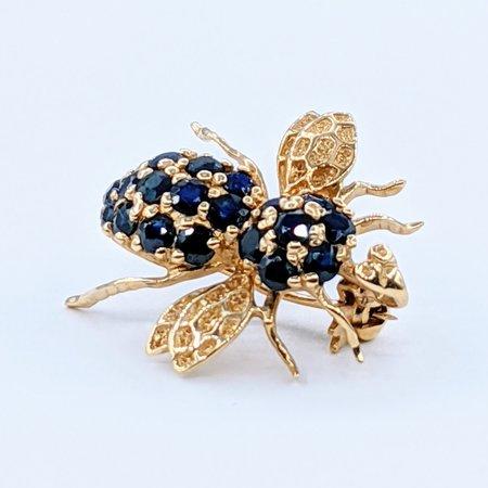Brooch Bee .50ctw Sapphire 14ky 220110049