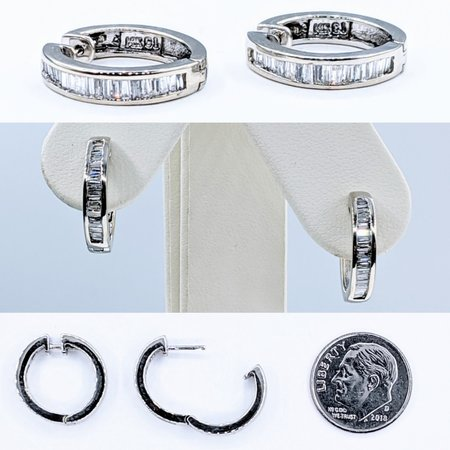 Earrings Hoops .50ctw Baguette Diamonds 14kw16mm 220110040