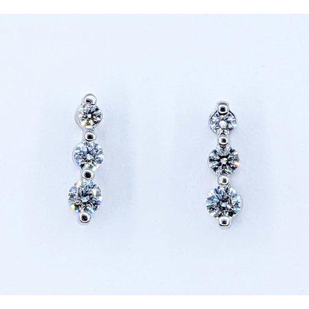 Earrings 3-Stone .50ctw Round Diamonds 14kw 220110067