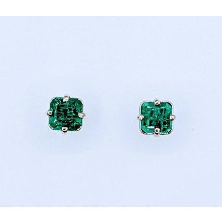 Earrings 1.00ctw Square Emeralds 14kw 4.6mm 220110070