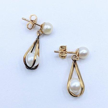 Earrings Drop Pearl Cage 6.3mm 14ky 221010038