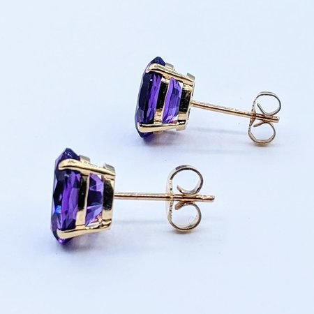 Earrings 10x8mm Oval Amethyst 14ky 221010036