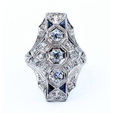 Ring 1.0ctw Old Euro Diamonds .20ctw Synthetic Sapphire Platinum Sz6 220120034