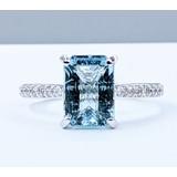 Ring .27ctw Round Diamonds 2.23ct Aquamarine 14kw Sz7 121010080