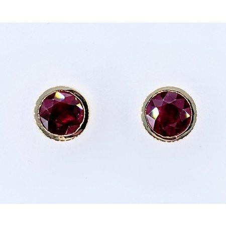 Earrings Bezel 2.01ctw Round Rubies 14ky 121010077