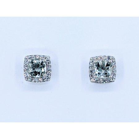 Earrings .13ctw Round Diamonds 5mm Green Quartz 14kw 221010055