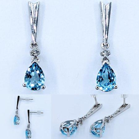 Earrings .02ctw Diamonds 1.70ctw Topaz 14kw 13x5mm 121010157
