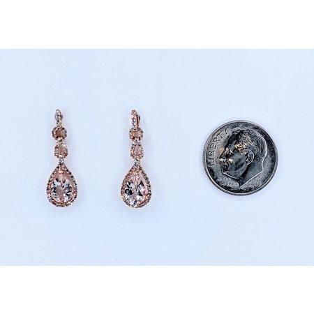 Earrings .12ctw Single Cut Diamonds 1.1ctw Morganite 14kr 7x5mm Pear Shape 121010146