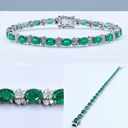 "Bracelet 6.83ctw Oval Emeralds 1.27ctw Diamonds 18kw 7"" 120070032"