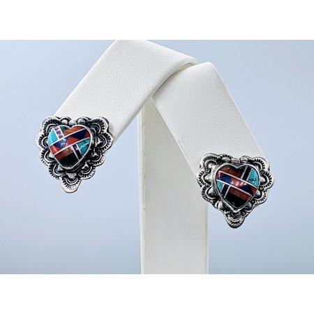 Earrings Native American Inlay Multi Stone Silver 121020018