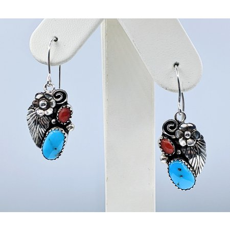 Earrings Native American Turquois & Coral Silver 221020020