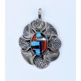 Pendant Native American Inlay Multi Stone Silver 121020021
