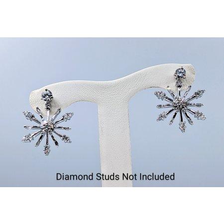 Earrings .33ctw Round & Baguette Diamond 14kw 20x18.5mm 121020044