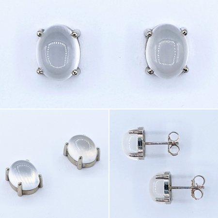 Earrings 4ctw (9x7x4.75mm) Moon Stone 14kw 121030041