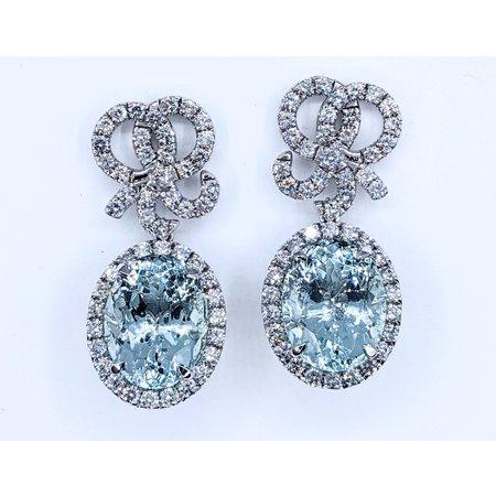 Earrings Dangle 3.00ctw Round Diamonds 22.97ctw Aquamarines 14kw 121030078