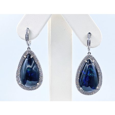 Earrings Dangle 1.0ctw Round Diamonds 17.25ctw Welo Opals 18kw 121030080