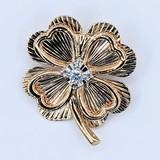 Pin 4 Leaf Clover .13ct Round Diamond 14ky 221030019