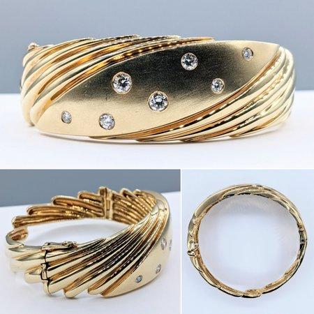 Bracelet Hinged Bangle .76ctw Round Diamonds 14ky 221030022