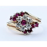 Ring .50ctw Round Diamonds .35ctw Rubies 14ky Sz8 221040007