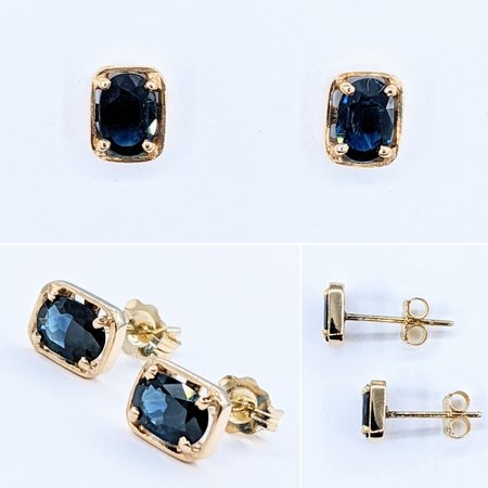 Earrings Studs 4x6mm Oval Sapphires 14ky 221040017