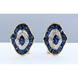 Earrings .15ctw Round Diamonds 1.50ctw Sapphires 14ky 221040018
