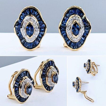 Earrings .15ctw Round Diamonds 1.50ctw Sapphires 14ky 221040018